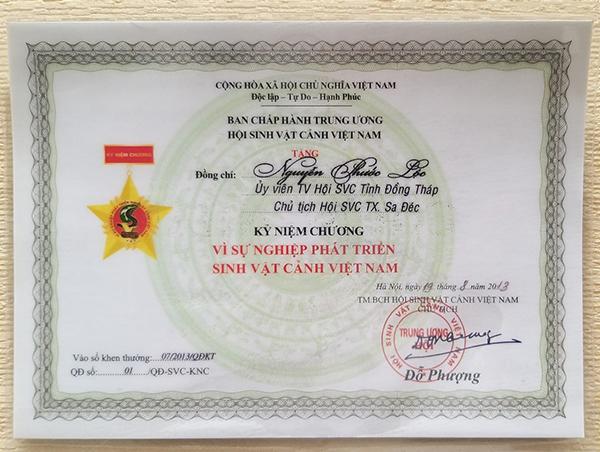 Ban Chấp Hành Trung Ương Hội Sinh Vật Cảnh Việt Nam trao tặng Kỷ niệm chương Vì Sự Nghiệp Phát Triển Sinh Vật Cảnh Việt Nam năm 2013